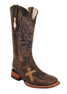 Ferrini Cowgirl Brown Cross Vamp Western Boots