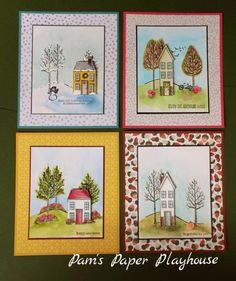 A set of four cards...one for each season using the same stamps and different colors of paper and ink