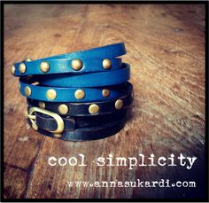 Studded wrap leather bracelets. Cool and edgy.