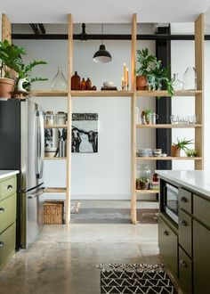 This Rental Apartments Shelf Wall Is Simple But Stunning Warm Industrial Rental Apartment Photos Apartment Therapy Diy Bathroom Decor, Kitchen Decor, Kitchen Ideas, Kitchen Pantry, Bathroom Tiling, Kitchen Wood, Decorating Kitchen, Kitchen Small, Bathroom Inspo