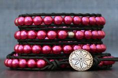 wrap bracelet- raspberry pink glass pearls and silver spacers on black leather - beaded leather - cranberry - boho bohemian gypsy Handmade Jewelry Bracelets, Wrap Bracelets, Handmade Jewellery, Metal Buttons, Circles, Peeps, Raspberry, Etsy Shop, Glass