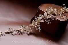Golden Tiara Circlet Bridal Wedding Crown made with Rhinestone ,Rustic Wedding Hair Vine of Wired Flowers, Leaf Gold Bridal tiara Pulling Weeds, Circlet, Diamond Earrings, Crown, Bridal, Wedding, Jewelry, Valentines Day Weddings, Corona