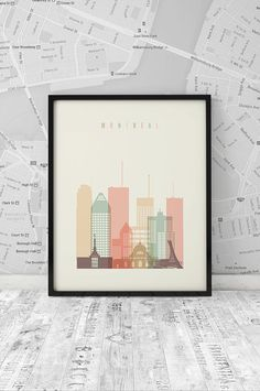 Montreal Print, Poster, Wall Art, City Poster, wall decor, typography art, Quebec Canada cityscape, digital poster print, INSTANT DOWNLOAD