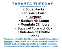 tabata workout--love these for lunchtime quickies.