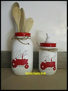 Farm house decor tractor canisters choose your colors canisters tractor kitchen Farm theme barn country kitchen Mason jar canisters Mason Jar Crafts, Mason Jar Diy, Bottle Crafts, Mason Jar Kitchen, Ball Mason Jars, Kitchen Pantry, Kitchen Island, Tractor Decor, Tractor Crafts