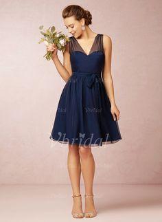 Bridesmaid Dresses - $56.60 - A-Line/Princess V-neck Knee-Length Chiffon Bridesmaid Dress With Ruffle (0075059680)