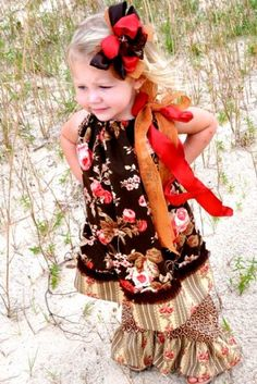 not free pattern Vintage Country Rose Pillowcase DressMatching Ruffle Pants and Hair Bow also Available!!This is the outfit to have for your fall photos!!