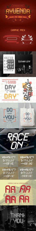 AYUENDA + Graphic Pack. Display Fonts. $12.00