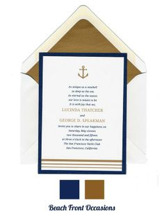 Navy and gold anchor nautical wedding invitation - Beach Front Occasions., www.beachfrontoccasions.com