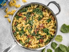 Bacon and Spinach Pasta with Parmesan is a quick and flavorful weeknight dinner that only requires a few ingredients. Step by step photos.