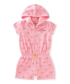 Take a look at this Juicy Couture Blush 'Juicy' Hooded Romper - Infant, Toddler & Girls today!