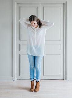 Blouse longue PISE de la marque SAM et LILI  Blouse fluide, Col mao, boutonnage a l'avant, chemise manches longues coupe liquette  Fabrication française