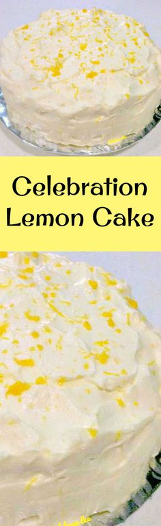 Celebration Lemon Cake with Lemon Frosting. This is a delicious very easy pound cake recipe and perfect for any celebration! | Lovefoodies.com