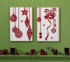 So cute!  Styrofoam sheets (or canvasses) and wall clings for easy holiday decor.