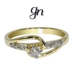 Anillo en oro amarillo de 14k y 15 pts de Diamante. | Conoce más www.facebook.com/joyeriagn/
