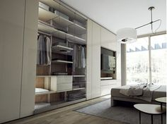 Sectional lacquered wood and glass wardrobe with built-in TV ROOMY | Wardrobe with built-in TV