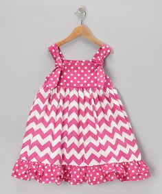 Take a look at this Hot Pink Zigzag Swing Dress - Infant, Toddler & Girls by Sew Childish on #zulily today!