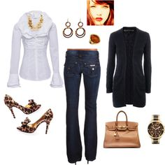 Casual Leopard, created by mkimlin on Polyvore not the shoes..eww