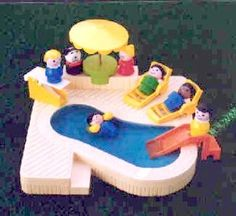 Vintage Fisher Price Little People Enjoy their Swimming Pool