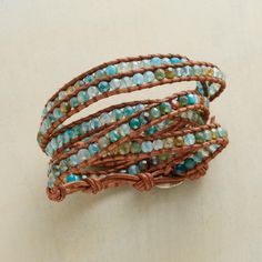 "BLUE BLAZES 5 WRAP BRACELET -- Chan Luu sets your wrist ablaze with nearly 200 aqua-dyed fire agates, edged with tan leather and fastened with a sterling silver button and loop. Handcrafted. 32""L."