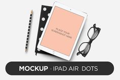 Mockup - iPad Air Dots Graphics The pack includes:- 4 .psd files 300 dpi, with full editable mockup- .pdf with a editi by TOMODACHI Glass Dropper Bottles, Green Glass Bottles, Mockup Templates, Business Templates, Pencil Illustration, Paint Markers, Ipad Air, Business Card Logo, Watercolor And Ink