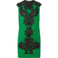 Lanvin Lace-appliquéd silk-chiffon and satin dress ($4,995) ❤ liked on Polyvore