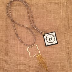 Betsy Pittard Gray and Gold Beads with Gold Quatrefoil and Tassel Necklace