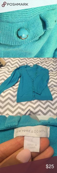 New York & Company bright blue cardigan NY & Co bright blue cardigan with ruffled collar and fancy buttons.  Worn twice with no defects. New York & Company Sweaters Cardigans
