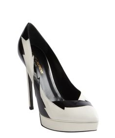 Saint Laurent white and black patent leather accent platform pumps | BLUEFLY up to 70% off designer brands