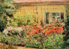 Max Liebermann - Wannseegarten. Blumenstauden am Gärtnerhäuschen nach Norden