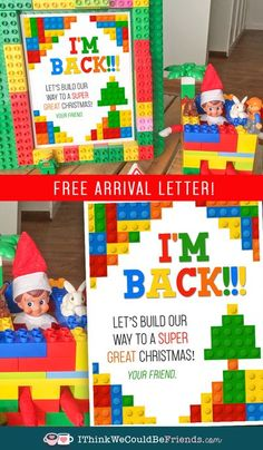 Free Printable Elf on the Shelf Lego arrival letter! This is a fun, quick & easy way for your Elf to arrive and your kids will LOVE it!! #elfontheshelf #arrival #ideas #free #printable #letter #legos #boys #kid #quick #easy #kids Lego Letters, Elf Games, Awesome Elf On The Shelf Ideas, Lego Christmas, Free Lego, Christmas Activities For Kids, Star Wars Birthday, The Elf, Legos