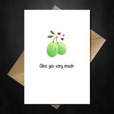 Cute Pun Valentines Day Card - Olive you!
