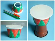 make a djembe out of cup and sour cream tub Around The World Crafts For Kids, Diy Crafts For Kids, Projects For Kids, Drums For Kids, Drum Lessons For Kids, Africa Craft, African Art Projects, Drum Craft, Making Musical Instruments