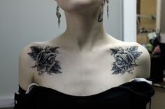 Placement and mirror image on collar bones....smaller flowers and Dahlias or Chrysanthamums?