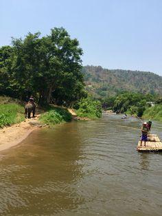 Rafting alongside the elephants