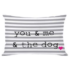 Striped pillow in grey with a typographic design. Made in the USA.     Product: PillowConstruction Material: Poly...