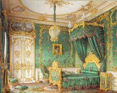 A bedchamber, Luigi Premazzi, 1850 Beautiful Bedrooms, Beautiful Interiors, Royal Room, Palace Interior, Victorian Bedroom, Winter Palace, Miniature Rooms, Suites, Rococo