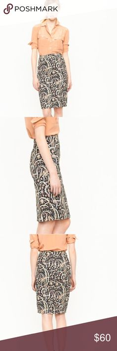 HP J.Crew Feather Paisley No. 2 Pencil Skirt Best in Dresses & Skirts Host Pick 6/5. J. Crew Feather Paisley No. 2 Pencil Skirt. A true design icon - the pencil skirt - meticulously shaped and seamed to figure. All done up in a cotton paisley motif with elegantly curling feathers. Fully lined, cotton skirt with a hint of stretch. Impeccable condition. No trades or Lowballs please. J. Crew Skirts Pencil
