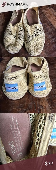 TOMS Yellow Lace Shoes Super cute yellow Lace TOMS in excellent condition. Slightly brighter than showing up in the pictures. TOMS Shoes Flats & Loafers