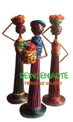 Africanas elaboradas con pitillos de papel