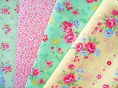 Shabby Chic Yellow and Pink Floral Fat Quarter Bundle