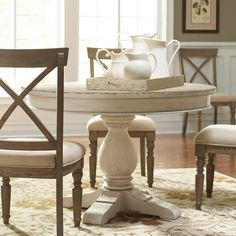 Aberdeen Wood Round Dining Table and Chairs in Weathered Worn White by Riverside Furniture Humble Abode