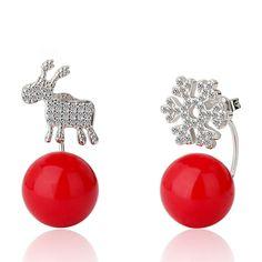Patico 925 plata de ley pendientes del copo de nieve de deer stud pendientes con la bola roja decoración para las mujeres de joyería de moda de regalo de navidad