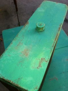 annie sloan chalk paint in Florence, drybrushed with some Antibes Green: cool! from Lark Nest Design. aturk2