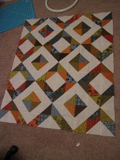 This is as big as this thing is getting, which is approximately lap quilt sized. Lap Quilt Size, Quilt Sizes, Half Square Triangle Quilts, Square Quilt, Quilted Gifts, Flying Geese, Easy Quilts, Quilt Top, Runners