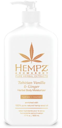 Hempz Tahitian Vanilla & Ginger Herbal Body Moisturizer, Ounce Enriched with Pure Natural Hemp Seed Oil Gluten Free Paraben Free Vegan THC Free Hempz Lotion, Vanilla Perfume, Perfume Body Spray, Oil Light, Herbal Extracts, Skin Care Remedies, Herbalism, Moisturizer, Pure Products