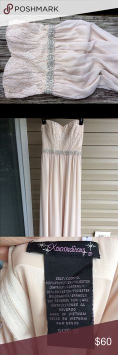 Long Homecoming/ Prom Dress Size 5. Long, nude/ light blush color. Sweet heart neckline with lace upper portion. Beaded silver belt. The dress has padding so it can be worn with or without a bra. The neckline also has a silicone strip to prevent the dress from slipping down. Only worn once for max. 5 hours. No stains, with a pretty clean hem. Xtraordinary Dresses Prom