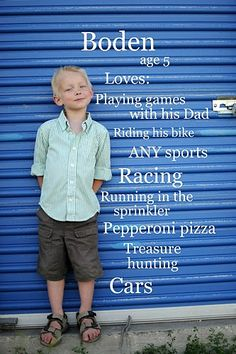Photo of child with what age they are and what they like to do