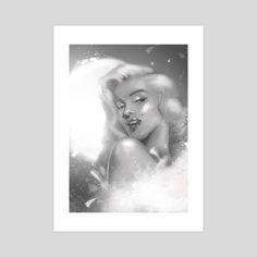 #INPRNT #illustration #print #poster #art #artprinr #homedecor #Marylin #Monroe #b&w #blackandwhite