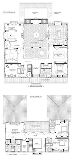 H shaped house plans with pool in the middle pg3 for House plans with courtyard in middle
